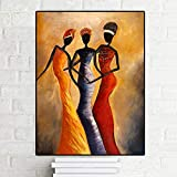 TYLPK Retro Schwarzafrikanerin Porträt Ölgemälde Poster gedruckt auf Leinwand Wandkunst Wandbild A2 40x50cm