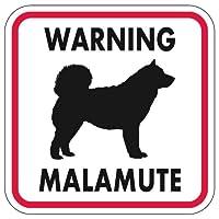 WARNING MALAMUTE マグネットサイン:マラミュート(レッドフレーム)Sサイズ