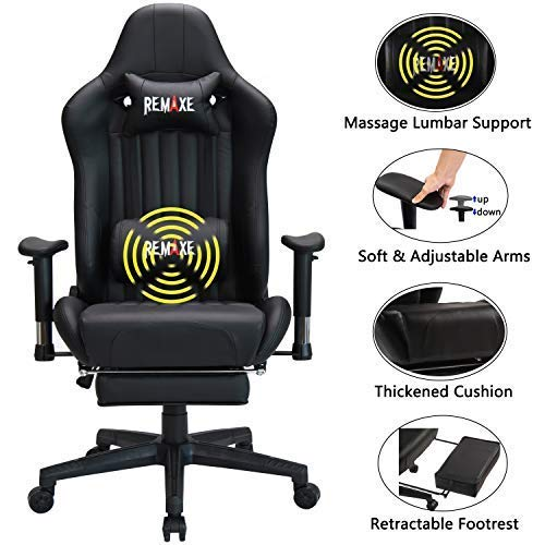 Remaxe Office Chair Gaming Chair with Retractable Footrest, High-Back Racing Chair Ergonomic Swivel PC Chair,PU Leather Executive Home Computer Chair with Headrest and Lumbar Massager Support chair gaming