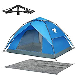 Night Cat Pop Up Tent 2 3 4 Man Camping Tent Waterproof Instant Automatic Easy Set Up Dome Holiday Tent Double Layer