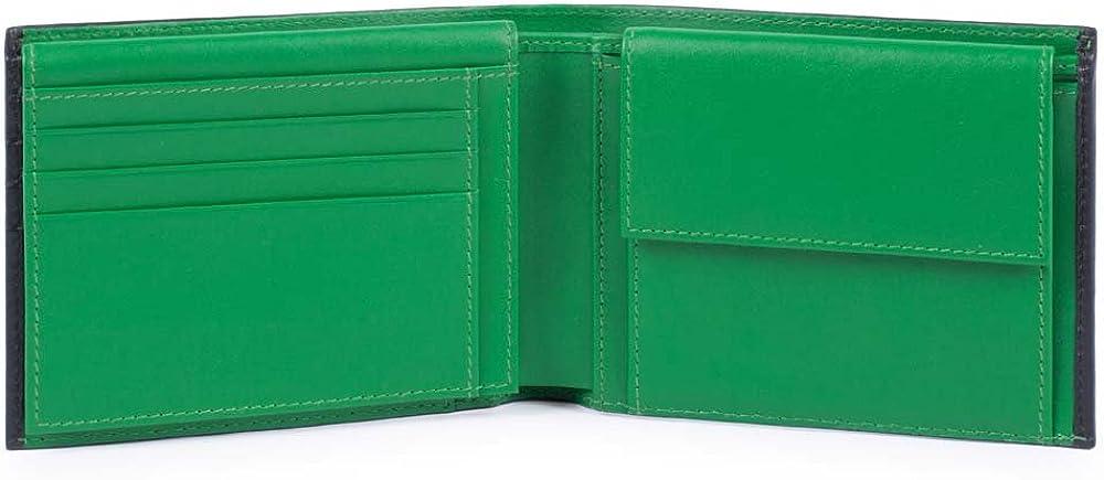 Piquadro splash, portafoglio, porta carte di credito, porta documenti, in pelle, nero/verde, 12 cm PU1392SPLR/NV