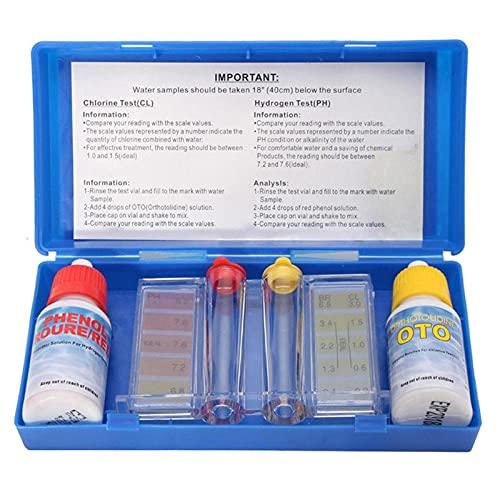 Gyj&mmm Kit de Prueba de pH de Cloro para Piscina, Kit de Prueba Doble estándar de Cloro y PH Oto con Bolsa de Transporte para Piscina, Agua Potable y SPA