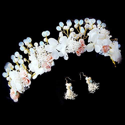 Ghirlanda fatta a mano Orecchini fiore Corona matrimonio Ghirlanda Fascia Sposa Copricapo Accessori per centesimi fotografia eccellente - Colorato