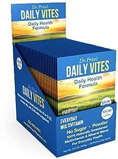 Daily Vites Multivitamin for Men and Women | Mineral Powder Supplement, Vitamin B, C and D, Biotin, Zinc, Iron | Drink Mix 30 Packets | Dr. Price's Vitamins | No Sugar Vegetarian Non-GMO Gluten-Free
