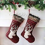 Houwsbaby - Juego de 2 medias navideñas, grandes soportes a cuadros con renos y felpa,...