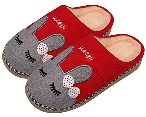 Mishansha Invierno Zapatillas Interior Casa Caliente Felpa Algodón Pantuflas Mujer Antideslizante Dibujos Animados Pareja Zapatos, Conejo-Rojo, 35/36 EU=36/37 CN