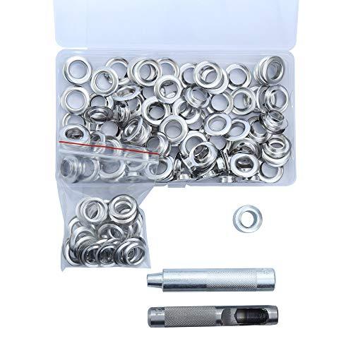 Grommets Tool met 100 sets Grommets zilveren ogen Punch gat gereedschap voor het repareren van canvas, tarps, tenten, schoenen, kleding, ambachten projecten