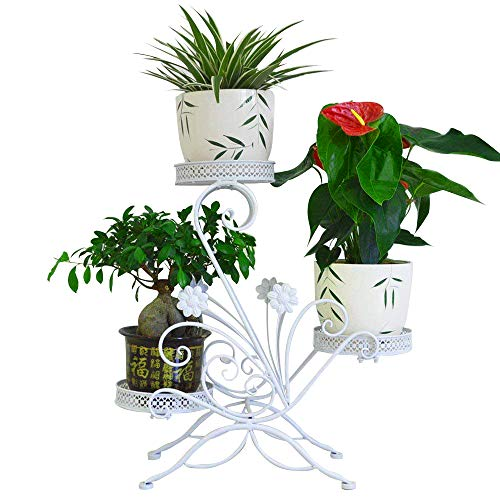 AISHN 3-Tiered Scroll Classic Plant Stand Decorative Metal Garden Patio Standing Plant Flower Pot Rack Display Shelf Holds 3-Flower Pot with ModernS Design (White)