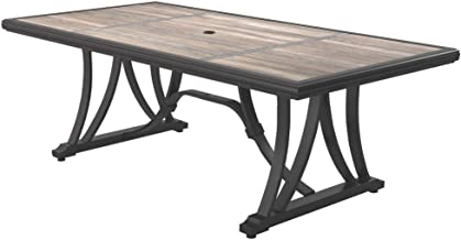 Ashley Outdoor Contemporary Brown Dining Table with Porcelain Top and Umbrella Hole