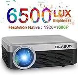 Mini Vidéoprojecteur 1080P Full HD Projecteur Bluetooth , BIGASUO Rétroprojecteur 6500 Lumens Multimédia Home Cinéma Projecteur Compatible avec TV Stick, HDMI, VGA, USB, Smartphone