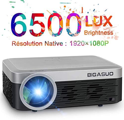 Proyector, BIGASUO Videoproyector Portátil 6500 Lúmenes 1080P Nativo de Cine en casa Proyector HD Compatible con HDMI/USB/SD/VGA/AV/TV Box para Cine en Casa/Presentación Empresarial