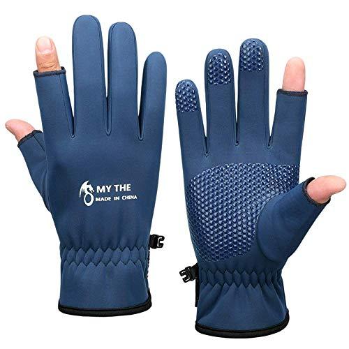 Winter-Angelhandschuhe Fügen Sie Samt hinzu, um Sich warm zu halten. 2-Schnitt-Finger-wasserdichte Angelhandschuhe für die Jagd
