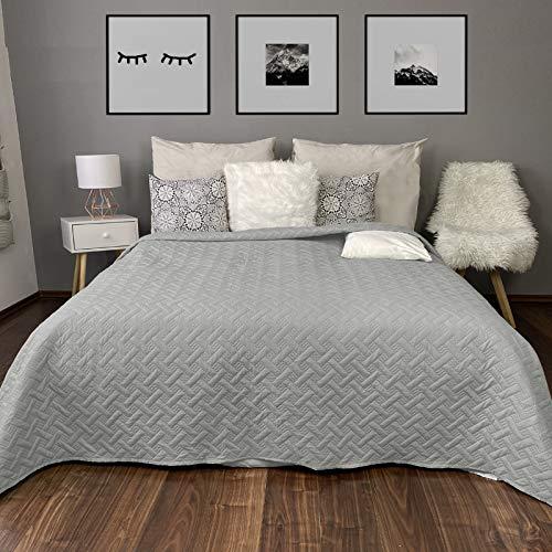 HOMELEVEL Tagesdecke Bett und Sofaüberwurf Bettüberwurf Sofa Tages Flechtmuster Decken Betthusse XXL Decke Überwurf Überdecke Grau 220cm x 240cm