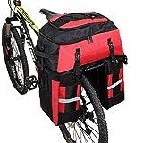 Pellor 自転車バッグ 自転車サイドバッグ 70L 大容量 収納力抜群 2way 自転車バックバッグ 登山 旅行 キャンプ ハイキング リアバッグ 専用レインカバー付き 5色選択 男女兼用 キャリアバッグ(ブラック,70L)