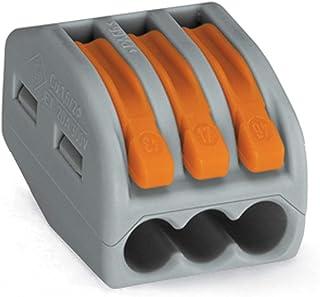 Wago 222-413 Bloc de raccordement pour 3conducteurs avec leviers, 4mm maximum Paquete de 50 gris
