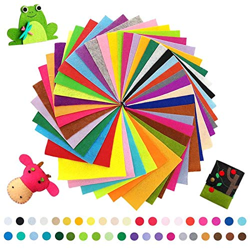 OHAHA 40PCS Felt Fabric Sheets 12'' x 8'', 40 Assorted Colors Felt Fabric Sheets Patchwork Sewing Craft Perfect for DIY Crafts, Sewing, School Projects, Decoration, Crafting Projects