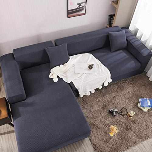 Hybad elasticas salón Funda de sofá,Protector Sofa Gatos arañazo,Elastica Fundas de Sofa Anti Gatos,Protector Protector de poliéster, Funda de sofá para Perro Gato-Navy_2_Seater / Loveseat