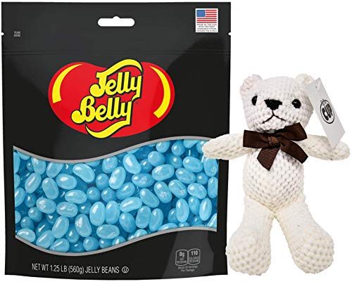 Jelly Belly Berry Blue Jelly Beans 1.25 lb Resealable Bag with By The Cup Teddy Bear
