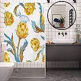Bathroom Company - Adhesivo decorativo para ventana, diseño abstracto de alcachofa de verduras de color en Art Nouveau Wa, fácil de instalar y reutilizar película de cristal, 17,7 x 178,7 pulgadas