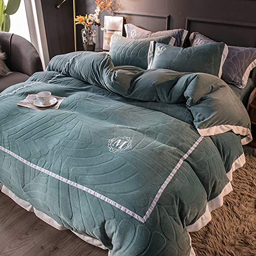 GGFHH Duvet Cover Set Textured 4 Pieces (1 Duvet Cover 1 Bed sheet with Zipper and 2 Pillowcases) Ultra Soft and Easy Care Cozy Bedding Set