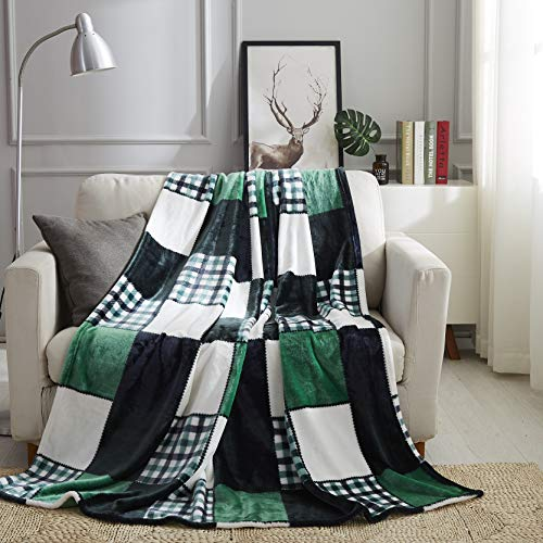 Tache Forest Green Farmhouse Super Soft Micro Fleece Plaid Patchwork Plush Lightweight Dual-Sided Decorative Couch, Sofa, Travel, Lap, Bed Throw Blanket, 50x60