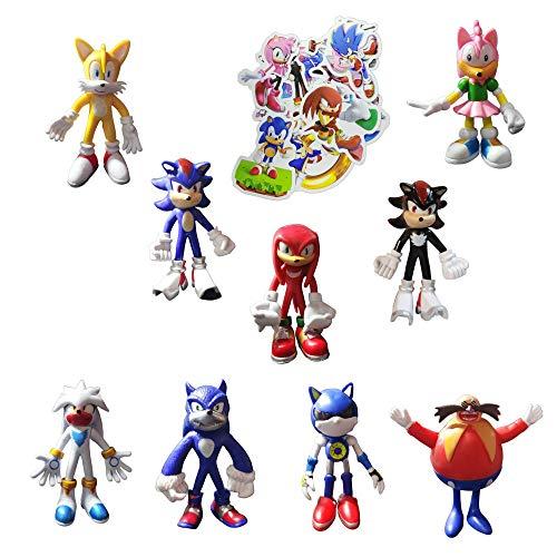 Sonic Figura Juguetes 9 unids/set Enviar 100 Sonic Pegatinas Sonic El erizo Sonic Fiesta De Cumpleaños Suministros Nuevo