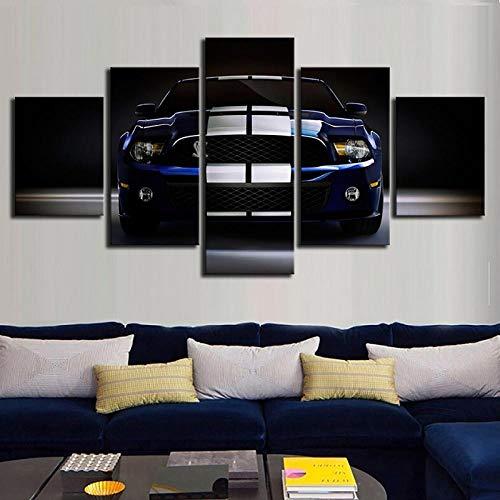TXFMT Geen Frame Canvas Decoratie Schilderij Handgemaakte DIY High Definition afdrukken Schilderij Modulair 5 Cool Luxe Blauw Sportwagen Foto Canvas Wall Art Home Decoratie Modern Nachtkastje Achtergrond Poster 150*100CM