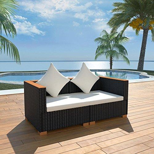 LucaSng Gartensofa Gartenmöbel Gartengarnitur 2 x Sofa-Eckelement 2 x Kissen 2 x Sitzpolster Schwarz