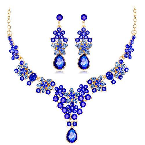 Fransande Exquisito juego de collar y pendientes de flor para novia de la moda de cristal de diamantes de imitación de la boda conjunto Ca625-