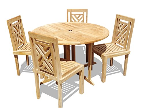 """Windsor's Genuine Grade A Teak, Barcelona 47"""" Round Drop Leaf Table W/ 4 Chippendale Stacking Chairs w Comfortable Contoured seat, World's Best Outdoor Furniture, Teak Lasts A Lifetime! Assembled"""