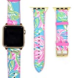 Lilly Pulitzer Genuine Leather Watch Band Sized to Fit 38mm & 40mm Smartwatches Compatible with Apple Watch Series 1, 2, 3, 4 (Totally Blossom)