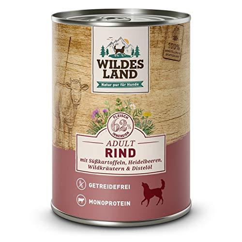 Wildes Land | Nassfutter für Hunde | Nr. 5 Rind | 6 x 400 g | mit Süßkartoffeln, Heidelbeeren, Wildkräutern & Distelöl | Glutenfrei | Extra viel Fleisch | Beste Akzeptanz und Verträglichkeit
