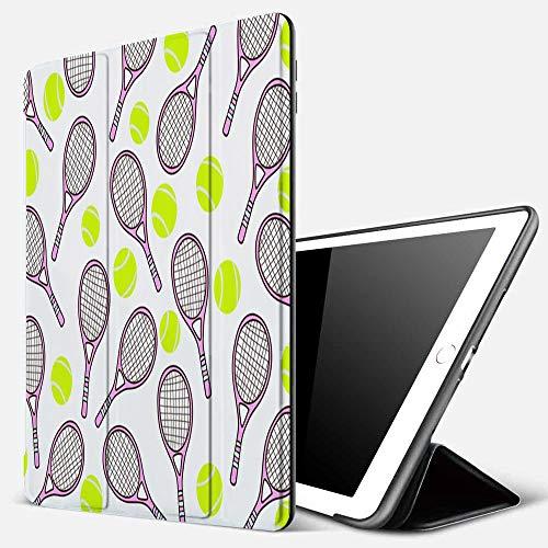 Qinniii Carcasa con Magnetic Auto-Sueño,Patrón Deportivo con Pelota de Tenis y Raquetas en Estilo de diseño Plano,Ligéra Protectora Suave Silicona TPU Smart Cover Case para iPad 5./6.