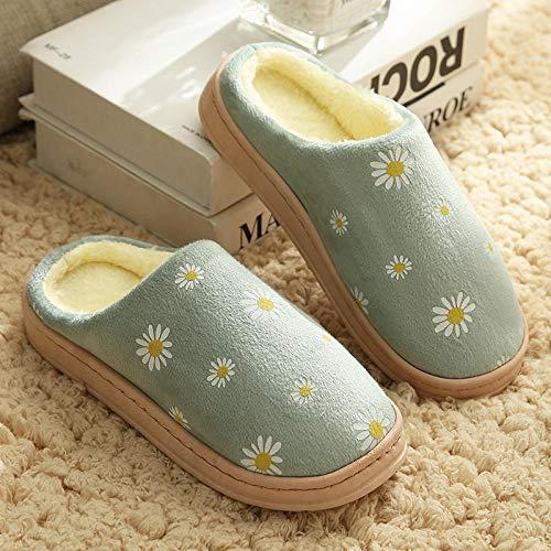 Ririhong Empeine Polar,Pantuflas, de Suela Gruesa de otoño e Invierno, más Bolsa de Terciopelo con Zapatos de algodón para el hogar, Pareja de confinamiento drag-38_Green_ [Daisy_Style]