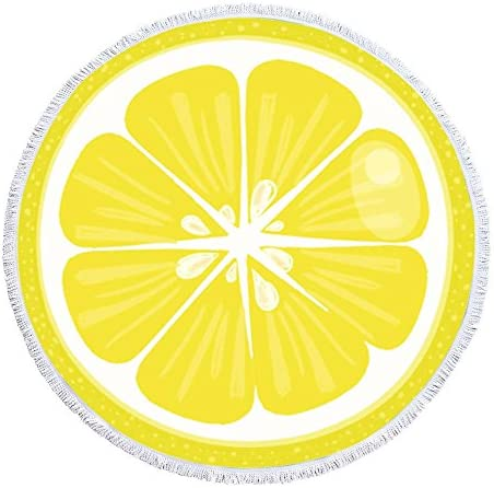 Handcraft Sweet Acid Fresh Fruits Lemon Thick Round Beach Towel Tapestry Blanket Yoga Mat with product image