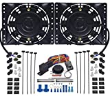 American Volt Dual Reversible 12V Electric Engine Radiator Cooling Fan & Adjustable Thermostat Switch Kit (6' Inch (Shroud))