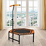 Aike Home Hexagon Trampoline with Adjustable Handle Bar for Adult/Kid Fitness Trampoline Bungee Rebounder Jumping Cardio Trainer Workout