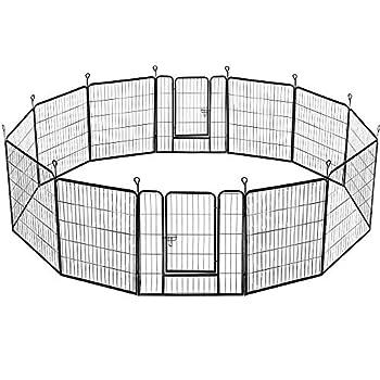 Yaheetech 12 Panneaux Parc pour Chiens Enclos en métal pour Chiots Rongeur Lapin 80 cm de Hauteur avec Porte et Piquets