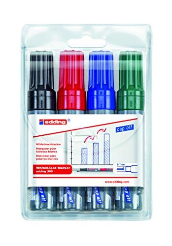 edding 365 Whiteboard Marker Set - sortiert - 4er Set - Zum Beschriften und Markieren auf Weißwandtafeln