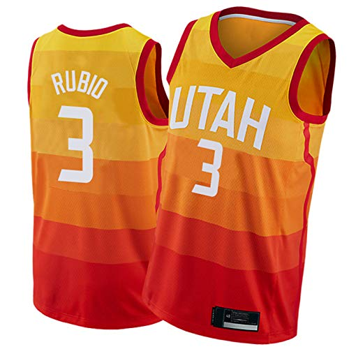 PPPU Jazz #10 Burks #3 Rubio #8 Jerebko #2 Ingles - Camiseta de baloncesto sin mangas para hombre, diseño de fanático, color naranja degradado #3 Rubio-S