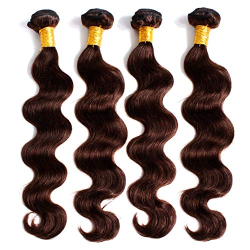 Body Wave 8A Hair Weave 4 Bundles Unprocessed Brazilian Human Virgin Real Raw Hair Extension Brown Auburn Double Weft (28 Inch #4)