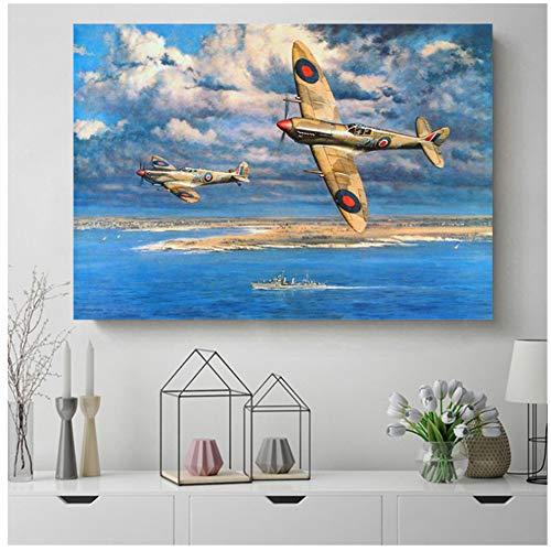 yhyxll Spitfire Retro Flugzeug Leinwand Poster Drucke Wandkunst Gemälde Dekoratives Bild Modernes Wohnzimmer Wohnkultur -60x90cm Kein Rahmen