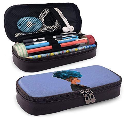Leder Federmäppchen, blaue Haarfarbe African Woman Reißverschluss Federmäppchen Briefpapier Tasche Reißverschlusstasche Bleistifthalter