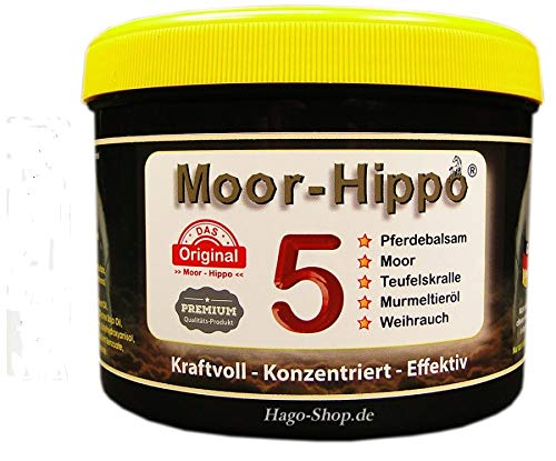 HAGO Moor-Hippo 5 - Pferdesalbe mit Moor, Teufelskralle, Murmeltier- und Weihrauchöl - 500ml (5 in 1) - erst kühlend anschließend warmhaltend