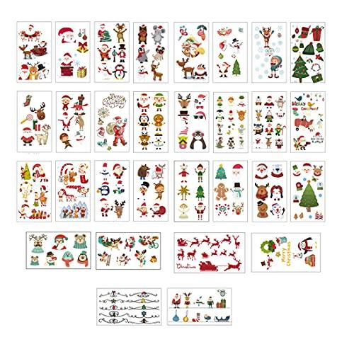 タトゥーシール クリスマス 30枚セット シール ステッカー 防水 子供 かわいい コスプレ 小物 ALD プレゼント フェイス 仮装 取り付け便利