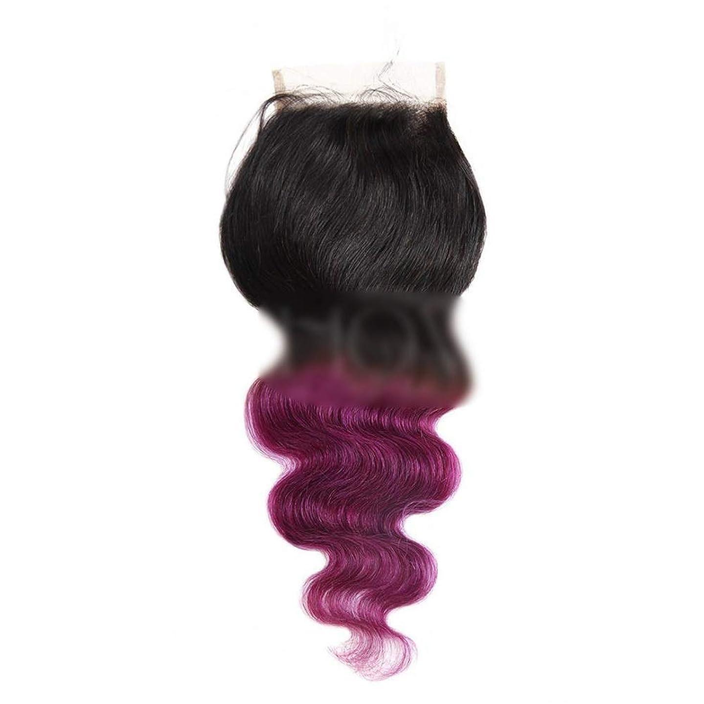 家畜明るい自由BOBIDYEE オンブルヘアエクステンションブラジルの髪の実体波1閉鎖と髪の束 - T1B /パープル2トーンカラー(12