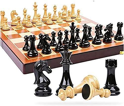 EIERFSKIOT Tablero ajedrez ajedrez Profesional ajedrez magnetico Plegable Juego de ajedrez de plástico, Juego de ajedrez Internacional, Regalo, Tablero de ajedrez de Madera Plegable,