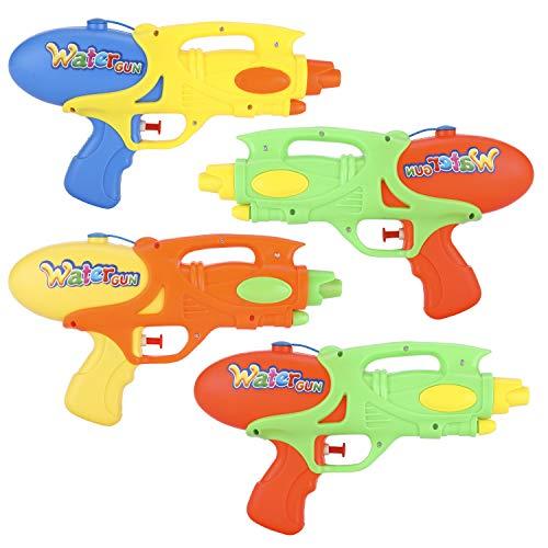 Ucradle Pistola de Agua para Niños, Paquete de 4 Pistola de Agua Pequeña Chorro de Agua de Verano Piscina de la Playa Baño Jardín Agua Juguetes de Lucha