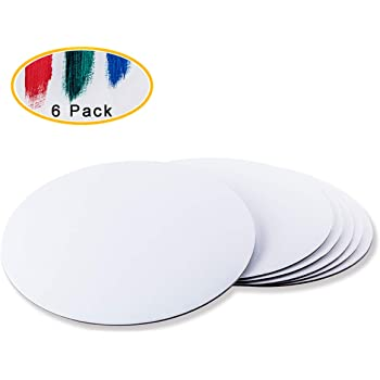 HEALLILY 6pcs Round Painting Canvas Panel Canvas Painting Boards