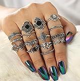 Zoestar Juego de anillos de dedo bohemios con flores plateadas vintage para nudillos apilables y huecos tallados para mujeres y niñas (paquete de 15)